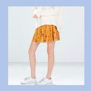 Zara mustard floral skirt